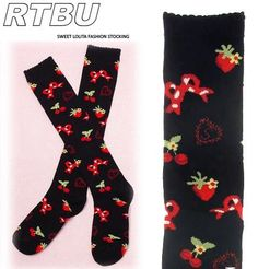 Black strawberry bow knee-high socks