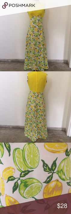Vintage citrus maxi! Vintage citrus maxi dress! Material unknown but most likely polyester. Shoulder to shoulder is 15.5 in. Length is 55 in. Pit to pit is 19 in. Size unknown so please see measurements for an accurate fit. Excellent condition! Bundle and save! Vintage Dresses Maxi