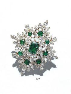 Van Cleef & Arpels Brooch Emeralds & diamonds in platinum