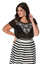 Plus Size Detailed Embroidered Chiffon Blouse