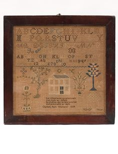 1834 Early American Sampler Signed Clarinda Park 1834, Warsaw, IL, Z & K Antiques