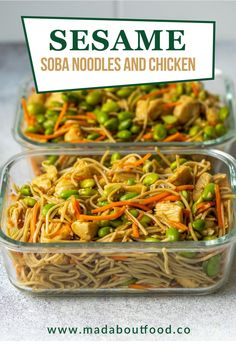 Use this Sesame Soba Noodle with Chicken recipe to make a simple and healthy lunch. This savory soba noodle recipe is delicious hot or cold! #noodles #lunchrecipes #healthyrecipes Soba Noodle Recipe Healthy, Chicken Noodle Recipes, Easy Chicken Dinner Recipes, Lunch Recipes, Cooking Recipes, Healthy Recipes, Healthy Food, Lunch Meal Prep, Easy Meal Prep