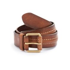 Brass Finished heel bar buckle something common on brown leather belts.