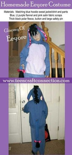 Easy Homemade Eeyore Costume. It was a a good & warm costume for our cold Halloween evenings.