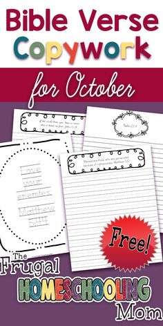 Free Bible Verse Copywork Pages for October Persecution by TFHSM Homeschool High School, Homeschool Kindergarten, Homeschool Curriculum, Homeschooling Resources, Kindergarten Crafts, Kindergarten Worksheets, Bible Lessons, Lessons For Kids, Bible Activities