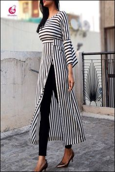 Black and white stripes crepe kurti kurtis online in india colorauction by sharon smi White Fashion, Look Fashion, Hijab Fashion, Trendy Fashion, Fashion Dresses, 80s Fashion, Fashion Clothes, Fashion Tips, Fashion Trends