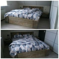 Dit bed is van oud steigerhout gemaakt.