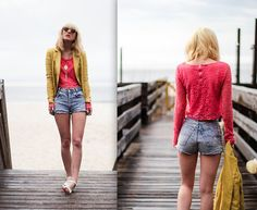 Inlovewithfashion Lace Crop Top, Vintage Shorts, Theory Blazer - Candy Coated - Olivia Taylor