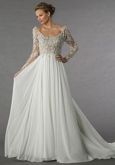This a-line gown features a scoop neckline with a natural waist in chiffon and beaded embroidery. It has a chapel train and long sleeves.