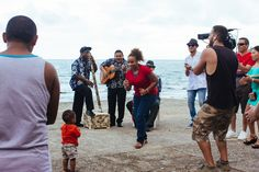 Jasyn filming calypso band & Rose & Carlos & Locals