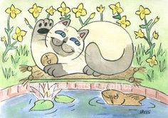 Lucky Neko Siamese Cat Saluting Gold Koi 5 x by threecatsgraphics, $15.00