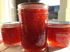 This is my signature jelly. I make it for everyone and every occasion. I have even made some and tinted purple for Dreamgoddess daughters wedding. It is very easy and can be made as hot or as mild as you want. For really hot I use 4 habarnero peppers, for milder, use in the amount called for in recipe using your preference in peppers. I just throw the peppers in the blender in large chunks with the vinegar and let the blender to the chopping for me.