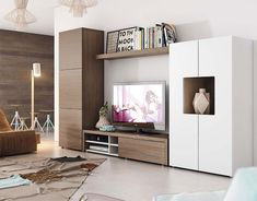 Contemporary Wall Storage System with Cabinet, TV Unit and Tall Cabinet
