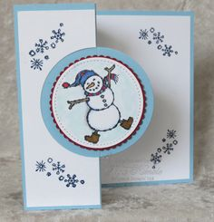 Spirited Snowmen will make you smile! At least this guy had my smiling as I colored him with Stampin' Blends, then made him into a swing card. Christmas Cards 2018, Holiday Greeting Cards, Xmas Cards, Christmas Tag, Christmas Ideas, Step Card, Swing Card, Snowflake Cards, Snowman Cards