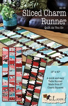 The runner is made with a Quilt As You Go method from one Charm Pack (5 squares) and some Jumbo Ric Rac.