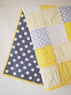 Baby Quilt - Bright Yellow and Gray Baby Quilt with Tiny Elephants and Polkaâ?¦