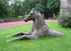 #Bronze #sculpture by #sculptor Martyn Bednarczuk titled: 'Horse (Bronze Swimming or Wading Horse upto its Neck/Horse Head statue)'. #MartynBednarczuk