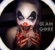 Gore Clown face paint.  For more makeup looks and tutorials: www.instagram.com/Mykie_      www.youtube.com/GlamAndGoreMakeup