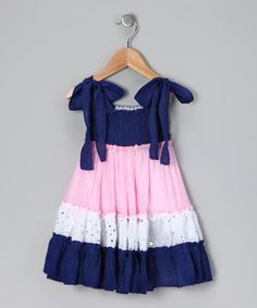 Take a look at this Navy & Pink Sundress - Girls by Lele for Kids on #zulily today!
