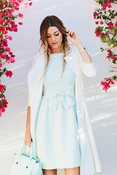 Mint Bow Dress and White Coat