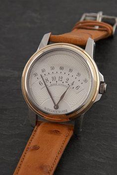 Nienaber Bünde Retro 2 retrograde watch - Watch - Ideas of Watch - retrograde wrist watch Denim Armband, Retro 2, Retro Style, Bracelet Cuir, Omega Seamaster, Beautiful Watches, Cool Watches, Men's Watches, Hublot Watches