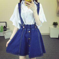 Fashion falbala braces cowboy skirt SE8338