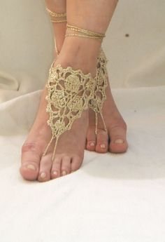 Gold Lace barefoot Sandals, Gypsy,Beach, Graduation day,Yoga, Hand Crochet,Victorian, Sexy, Graduation day,Gothic, Lolit. $17.50, via Etsy.