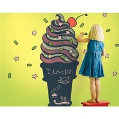 Ice Cream Cone Chalkboard Wall Decal - WallCandy Arts
