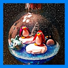 Club Penguin Ornament, penguin & whale made out of polymer clay