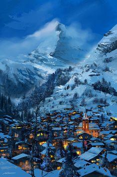 Matterhorn by Taha Alkan Fantasy Village, Fantasy City, Fantasy Castle, Fantasy World, Fantasy Art Landscapes, Fantasy Landscape, Fantasy Concept Art, Landscape Concept, Environment Concept Art
