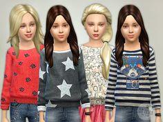 Printed Sweatshirt for Girls P06 by lillka at TSR via Sims 4 Updates