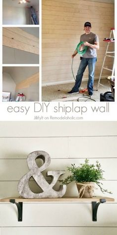 How to Install a Shiplap Wall + Rustic Home Office Makeover Easy DIY Shiplap Wall Tutorial -- an inexpensive way to add character or cover up damaged walls<br> Living Tv, Home Living, Living Room, Diy Décoration, Easy Diy, Diy Crafts, Simple Diy, Installing Shiplap, Shiplap Diy