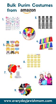 Purim is such a fun holiday and I love adding a little extra silliness to our mishloach manot packages. These Purim costume items come in bulk, so they're perfect for giving out to everyone. Purim Costumes, Easy Costumes, Stick On Mustaches, Mishloach Manos, Clown Nose, Sunday School Teacher, Princess Jewelry, Superhero Capes, Unicorn Headband