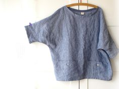 Women linen blouse, oversized top with pockets, linen shirt.
