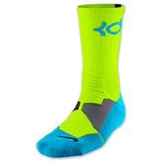 Men's Nike KD Hyper Elite Basketball Crew Socks | FinishLine.com | Volt/Vivid Blue/Black