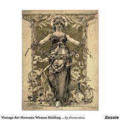 Vintage Art Nouveau Woman Holding a Garland Poster