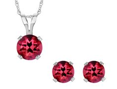 47e6f000a64e Created Ruby Solitaire Earrings and Pendant Set 1.50 Ct (ctw) in Sterling  Silver with