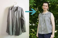 DIY Upcycle a man's shirt into a retro summer blouse... there's a LOT of reconstruction in this one.