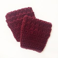 "FREE SHIPPING - Crochet, Bobble, Boot, Cuff - Womens - Maroon, Dark Red. Coupon code ""Pin10"" saves you 10%! #christmas #gift #giftguide #giftsforher #crochet #etsy #yarn"