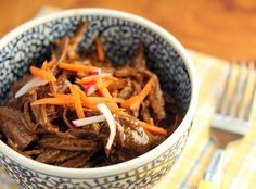 Shredded hoisin beef, made in the crockpot.
