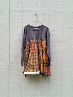 upcycled sweatshirt and flannel Dress / romantic by CreoleSha