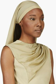 Rick Owens: Khaki Green Crepe and Suede Cleo Head Scarf @Lyst