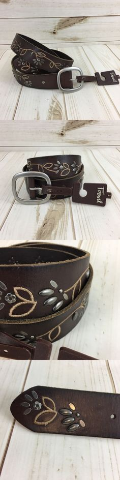 879181a4380 Belts 3003  New Fossil Womens Brown Leather Embriodered Metal Embellished  Stud Belt. Size L