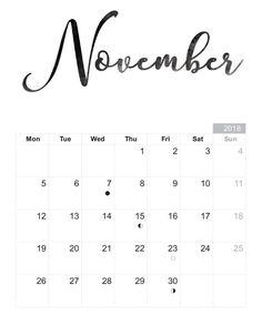 35 Best November 2018 Printable Calendar Images 2017 Calender