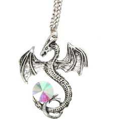 LOVEsick Dragon Iridescent Gem Long Necklace | Hot Topic ($6.80) ❤ liked on Polyvore featuring jewelry, necklaces, gem pendants, gemstone pendant necklace, gemstone necklaces, long necklaces and long pendant