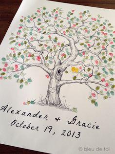 Elm Fingerprint Tree, Wedding Guest Book Alternative, Thumbprint Guestbook - Bleu de Toi