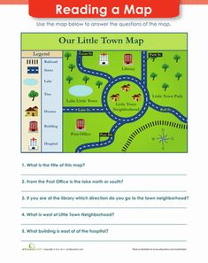 First Grade Reading & Writing Worksheets: Map Reading Geography Worksheets, Map Worksheets, Social Studies Worksheets, Social Studies Activities, 1st Grade Worksheets, Reading Worksheets, Geometry Worksheets, Map Activities, Scout Activities