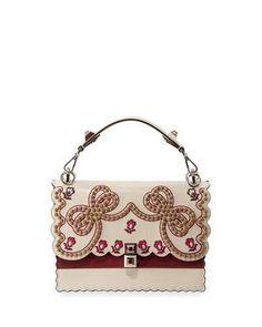 V3R75 Fendi Kan I Medium Bow Embroidered Shoulder Bag