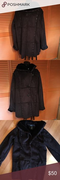 Black Dennis Basso Suede Coat This black suede-like, designer coat is so soft and warm. It buttons down the front and lined with black fur. Dennis Basso Jackets & Coats Pea Coats