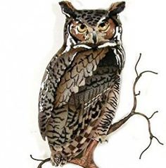 Copper Wall Art Great Horned Owl On Branch